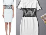 春夏新款高端职业女装圆领短袖蕾丝针织修身连衣裙气质 一件代发