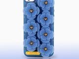 透明蓝色TPU磨砂立体花朵iphone5/5s手机壳 **销售