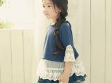 秋款韩版童裙 中袖儿童裙衫 蕾丝花边中袖女童公主裙 童装批发