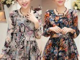 2014年早春新品韩版女装碎花雪纺长袖连衣裙修身气质雪纺打底裙