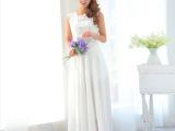 2014夏季新款女装 韩版时尚雪纺连衣裙女士纯色吊带长裙 外贸原