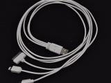 【厂家直销】手机数据线USB充电线一拖三1米三合一苹果6苹果4