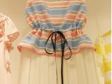 韩国代购新款条纹连衣裙百褶裙无袖圆领裙子夏装女款潮