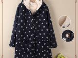 厂家直销2014新款日系加厚加绒连帽外套棉衣系带棉服冬季女装批发