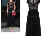 2014夏季新款蕾丝拼接雪纺长款黑色连衣裙雪纺长裙大摆裙