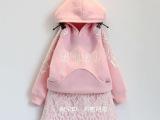 2015韩版女童秋冬季新款蕾丝长袖加不倒绒卫衣+短裙套装厂家直批