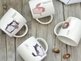 可爱卡通动物图案马克杯 陶瓷水杯 可定制LOGO