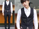 韩版英伦时尚男士西服马甲三粒扣修身男式小马甲商务休闲一件代发