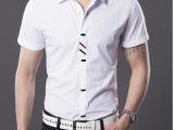 2014高端商务休闲纯色短袖衬衫.白色蓝色黑色爆款批发