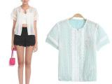 欧家同款2014夏装新款欧根纱刺绣拼接短袖薄款小外套女装批发