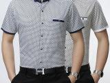 15夏季新款男士立领时尚潮流透气格子短袖衬衫中年爆款休闲男衬衣