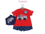 英国小木马lily&jack粉色卡车婴儿服装两件套婴儿外