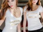 淘宝热卖 2015夏装小衫女装性感低胸修身打底衫女短袖印花个性t恤