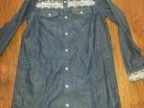 外贸服装日本TITICACA水洗牛仔长袖长款衬衣