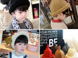 韩版儿童帽子手工奶嘴尖尖顶毛线帽针织帽巫师帽 高品质一件代发