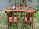 老船木家具实木大板茶桌茶台高档会所古典茶桌椅组合功夫泡茶桌