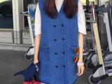 韩国ulzzang学院风双排扣复古牛仔中长款背心女装长马甲外套0
