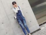 韩版女装2015秋装新款水洗破洞牛仔背带裤A263秋季女式休闲牛