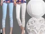 大码OL蕾丝钩花镶钻薄夏款白色外穿打底七八分小脚裤八分裤