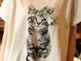 7-1688日系学院风蝴蝶结猫咪女士t恤 浅灰色纯棉宽松短袖t恤