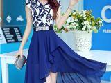 2014夏季新款不规则裙韩版印花长款修身V领短袖雪纺连衣裙子