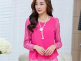 韩版新款宽松大码长袖雪纺衫 时尚圆领蕾丝拼接后背开叉女装小衫