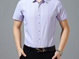 夏季新款品牌男装寒霸商务时尚翻领男装衬衫男式短袖条纹开衫短袖