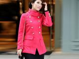 2015秋季新品女式长款棉服外套 韩版修身女士外套斜角大衣批发