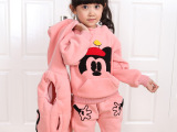 韩版童套装儿童卫衣三件套加绒加厚 绣花米老鼠童套装