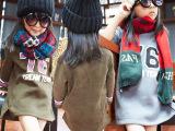 童装2014秋装新款女童大卫衣儿童76数字 字母内抓绒套头圆领卫