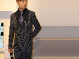男式格子西服套装定做 西服三件套订做 修身西装 套装 男士
