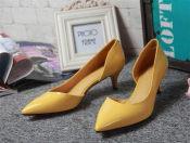 欧美时尚外贸真皮女鞋2015新款OL尖头浅口中跟细跟单鞋 承接订单