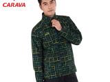 CARAVA喀尔沃品牌男款户外休闲软壳衣防水透气印花连帽外套45