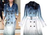 服装2014秋冬新款女装明星同款双排扣修身中长款渐变风衣女外套