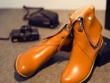 14新款头层牛皮低跟短筒骑士靴女靴高端定制订做大小码