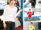 2015秋季女式长袖印花V领加绒打底衫 韩版修身牛奶丝长袖t恤女