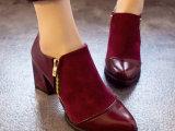 欧美风秋冬复古尖头粗跟中跟裸靴拼接短靴英伦风百搭侧拉链马丁靴