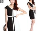2014夏装新款 韩版V领黑白撞色拼接 OL气质修身短袖连衣裙