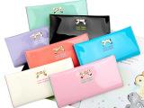 2014新品韩版漆皮中长款蝴蝶结钱包 新款简约二折女士钱包卡包