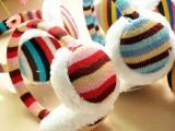 厂家直销秋冬季韩国可爱毛绒彩色条纹耳套 针织毛绒保暖简约耳罩