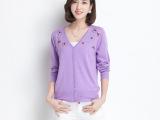 厂家直销2014秋季季新款纯色单排扣针织开衫女针织衫时尚