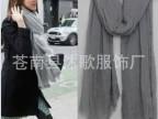 新款秋冬韩国 须须丝巾 四面须 欧美外单纯色围巾 女 棉麻披肩