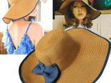 帽子女士夏季韩版vivi蝴蝶结大沿草帽遮阳帽沙滩帽工厂家批发