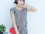 2014新款夏装韩版女装圆领无袖收腰显瘦OL时尚条纹雪纺连体短裤