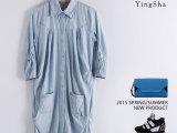 纯棉牛仔水洗长衬衫女2015春夏款女装订货批发韩版中袖宽松型开衫