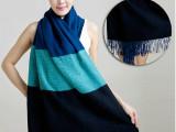 韩版新款女士围巾羊绒加厚冬围脖毛线拼色羊绒围巾披肩两用超长