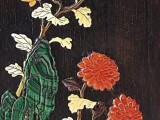 十七世纪 紫檀嵌宝四季花卉图四方笔筒