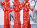 秋冬加棉红色蕾丝旗袍 新娘敬酒服结婚回门装 修身小礼服