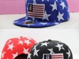 美国星星国旗印花大五星棒球帽子街头潮流平沿帽女潮街舞嘻哈帽