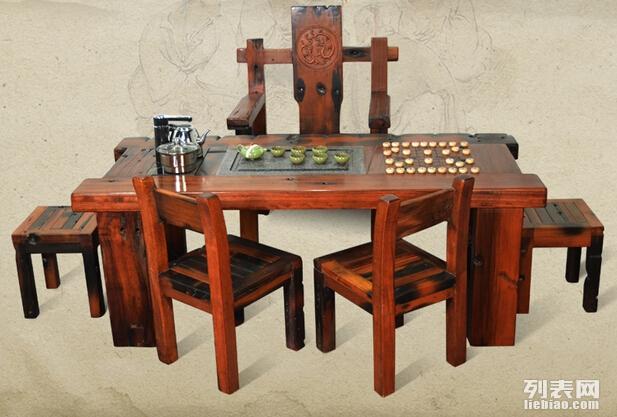 济宁老船木家具茶几沉船木客厅阳台茶台船木茶桌椅组合特价